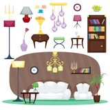 Furniture room interior design home decor concept icon set flat vector illustration. Furniture room design decor elements and room interior design furniture vector illustration
