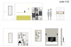 furniture Sala de visitas do projeto Mobília interior Escala 1: 10 ilustração royalty free