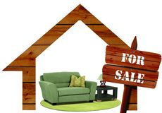 Furniture for sale. Image of furniture for sale with wooden house frame Stock Images