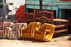Kampala Furniture for Sale on Roadside. Furniture for sale along the road side in Kampala, Uganda royalty free stock photography