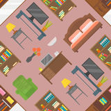 Furniture seamless pattern vector. Icons illustration Royalty Free Stock Photos