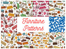 Furniture seamless patterns for interior design Stock Photo