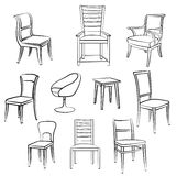 Furniture seat and armchair set. Interior sketch collection Royalty Free Stock Images