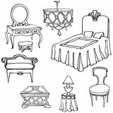 Furniture second bed. Bedroom furniture set vector hand-drawn, classic old-styled, bed? dressing-table, seat  in white background Royalty Free Stock Photos