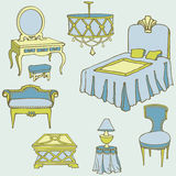 Furniture second bed color blue. Bedroom furniture set vector hand-drawn, bed, dressing-table, color blue, green, yellow Royalty Free Stock Photography