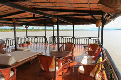 Furniture of second deck of Vat Phou Cruise, a floating hotel, o Royalty Free Stock Photos