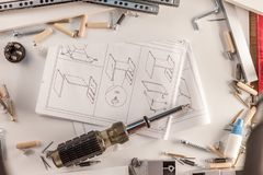 Furniture assembly parts manual royalty free stock photo