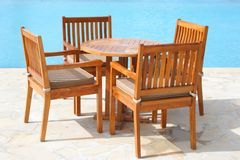 Furniture Series 34. Wooden furniture by the swimming pool
