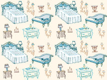 Furniture  set bedroom 2 color seamless. A set of seamless pattern bedroom furniture, beds, stool, chest of drawers, bedside table, lamp, candles, lampshades Royalty Free Stock Photography