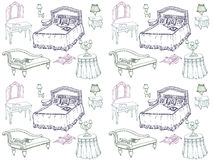 Furniture  set bedroom 1 seamless. Sketch of a classic bedroom furniture, bed, blanket, pillow, nightstand, lamp, mirror, stool, table, tablecloth- seamless Stock Images