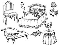 Furniture  set bedroom 1. Sketch of a classic bedroom furniture, bed, blanket, pillow, nightstand, lamp, mirror, stool, table, tablecloth- black and white Royalty Free Stock Photos