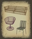 Furniture set  for design in grunge frame. Vector Royalty Free Stock Photo