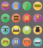 Furniture set flat icons vector illustration Royalty Free Stock Image