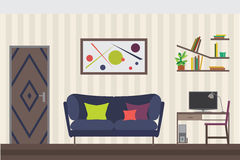 Furniture Set. Flat Vector Illustration for you Interior Design. Elevation with Door, Sofa, Table, Chair, Shelves and Royalty Free Stock Images