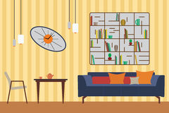 Furniture Set. Flat Vector Illustration for you Interior Design. Elevation with Sofa, Table, Chair, Shelves and Clocks Stock Photo