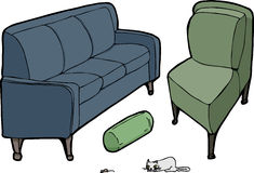 Furniture Set I. Sofa, pillow, lounge chair with cat and mouse for the house Royalty Free Stock Images