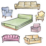 Furniture set. Interior detail isolated color outline collection Royalty Free Stock Photo