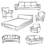 Furniture set. Interior  detail outline collection: bed, sofa, s Royalty Free Stock Photography