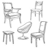 Furniture set. Interior detail outline collection: chair, armcha Royalty Free Stock Photo
