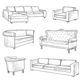 Furniture set. Interior detail outline sketch collection: bed, s Stock Image