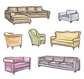 Furniture set. Interior detail water colour outline collection: Royalty Free Stock Images