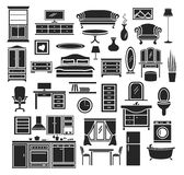 Furniture Set. Furniture Items Icons Set. Bedroom, Living Room Furniture, Bathroom Objects, Home Office Furniture, Kitchen Stock Images