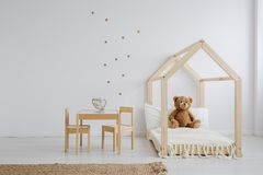 Furniture set for kid. Wooden and cute furniture set for kid stock image