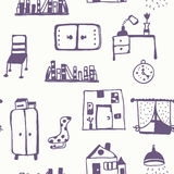 Furniture set seamless pattern Stock Photography