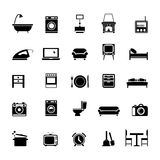 Furniture. Set of furniture silhouettes  and home accessories Stock Images