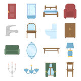 Furniture set vector icons. Collection of interior, home, comfort icons. Royalty Free Stock Photography