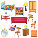 Furniture set. Vector set of furniture for living room and bedroom, isolated on a white background Stock Photography