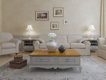 Furniture in shavvy-chic living. Idea of luxury house. 3D render Royalty Free Stock Image