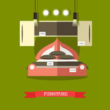 Furniture shop concept vector illustration in flat style Royalty Free Stock Photos