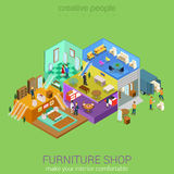 Furniture shop isometric interior floors concept Royalty Free Stock Photos