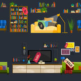 Furniture Shop Super Sale Vector Illustration. Sale in furniture shop. Sale labels on furniture in store. Furniture shop sale. Set furniture for sale. Tag sale Royalty Free Stock Photography