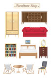 Furniture shop wood board with sofa bookcase desk chair wardrobe and bed Stock Photography
