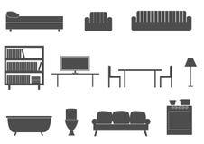 Furniture silhouette icons Stock Photos