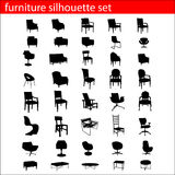 Furniture silhouette set Stock Images