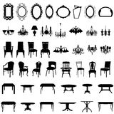 Furniture silhouette set. Set of different furniture silhouettes. Vector illustration Stock Photos