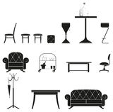 Furniture silhouette set Stock Photos