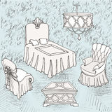 Furniture silver bedroom love. Sketch of a bedroom in a classic style with the inscription love Royalty Free Stock Photo
