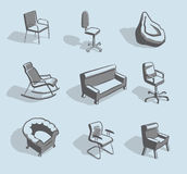 Furniture for sitting Stock Photos