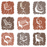 Furniture for sitting icons Stock Photo