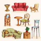 Furniture Sketch Colored Royalty Free Stock Photo
