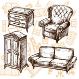 Furniture Sketch Seamless Concept Royalty Free Stock Photography