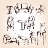 Furniture sketch set Stock Photography
