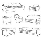 Furniture sofa and armchair set. Interior design outline collection Royalty Free Stock Images