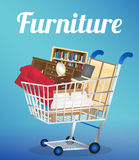 Furniture sofa bookcase desk chair wardrobe and bed on a shopping cart Stock Photo
