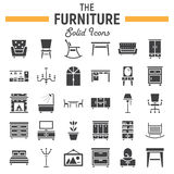 Furniture solid icon set, interior sign collection. Furniture solid icon set, interior symbols collection, vector sketches, logo illustrations, filled pictograms Stock Photos