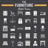 Furniture solid icon set, interior sign collection. Furniture solid icon set, interior symbols collection, vector sketches, logo illustrations, filled pictograms Stock Image
